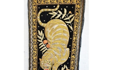 Three Thai wall hangings, each stumpwork decorated with a ti...