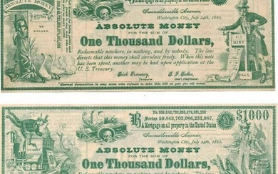Two $1000 Absolute Money Greenback-Labor Political