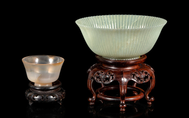 Two Chinese Carved Hardstone Bowls