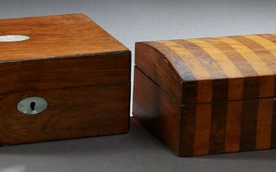 Two English Boxes, late 19th c., one domed mahogany