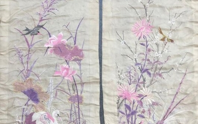 Two embroidered folding screen leaves, China, circa 1900