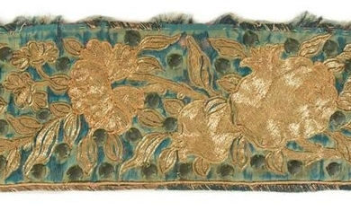 Two pieces of embroidered silk fabric. Japan. Edo