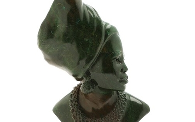 Ubekendt kunstner: Portrait of an African woman. Bust of polished green verdite stone. Unsigned; marked 3474 in the bottom. H. 30 cm.
