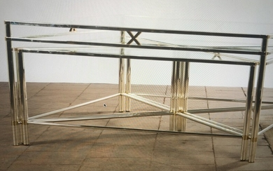 Unknown designer: Coffee table with with frame of chrome and brass. Top of glass. Including four triangular insertion tables. (5)