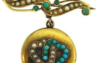 Victorian 15 Carat Yellow Gold Turquoise and Seed Pearl