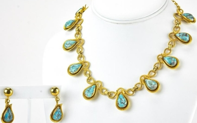 Vintage Gilt Metal & Faux Turquoise Jewelry Suite