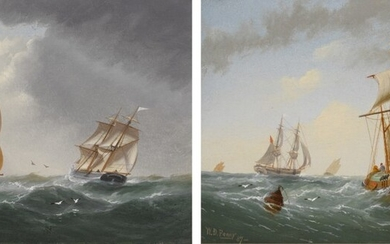 WILLIAM DANIEL PENNY | SHIPS AT SEA: A PAIR OF PAINTINGS