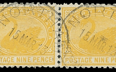 "Western Australia 1905-12 watermark Crown over ""A"", perf 11 9d. orange-yellow horizontal pair..."