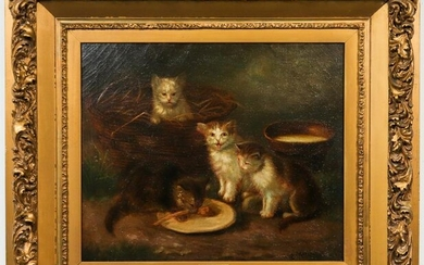 "Z. Monchablon ""Feeding Time"" Oil on Canvas"