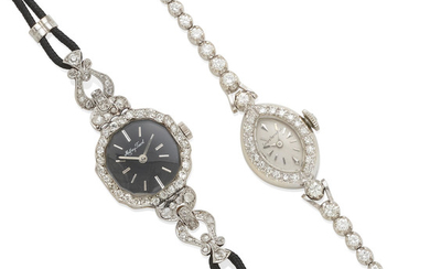 a group of ladies gold and diamond wristwatches