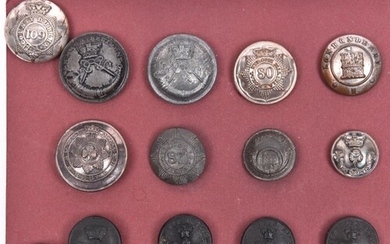 14 Irish Militia buttons, including officer's large silver p...