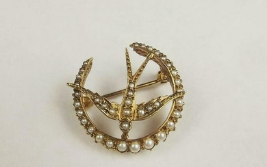 14ct Yellow Gold & Pearl Brooch
