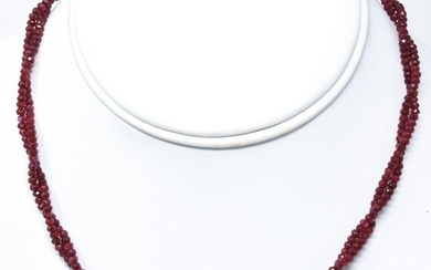 14k Gold Double Strand Necklace Faceted Ruby Beads