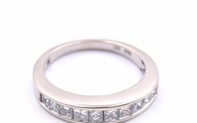 14k White Gold Diamond Princess Cut Channel Set Band