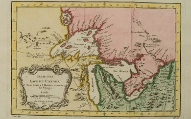 1754 Bellin Map of the Great Lakes Region -- Carte des