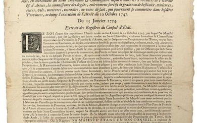 """1754. PICARDIE, ARTOIS & BOULONNAIS. """"Arrest of the Council of State of the King, which, by attributing to the Intendant & Commissioner departed in the Provinces of Picardy & Artois, the knowledge of the damage, furtive kidnappings of grains or cattle..."""