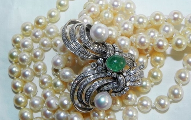 18 kt. Gold - Antique pearl necklace with emerald and diamonds 750 gold - 4.00 ct Emerald - Diamond