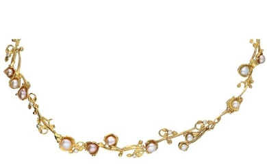 18 kt. Gold - Necklace - 0.42 ct Diamond - Pearl