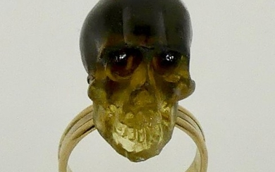 18 kt. White gold, Yellow gold - Ring Baltic amber skull