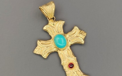 18 kt. Yellow gold - Pendant Turquoise - Opal