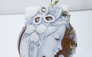 18 kt. Yellow gold - Pendant cameo - Diamond