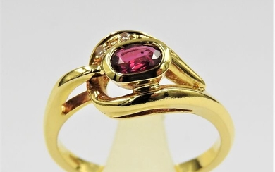 18 kt. Yellow gold - Ring - 0.30 ct Ruby - Diamond