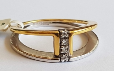 18ct Gold and Diamond Ring: Two-Tone Gold (750) with Divider...