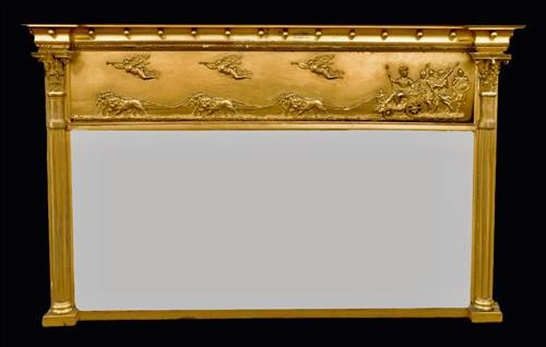 19th Century Giltwood Over Mantle Mirror