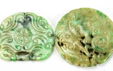 2 Chinese Carved Jade Pendants