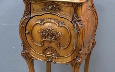 20th Century French walnut marble topped bedside table with...