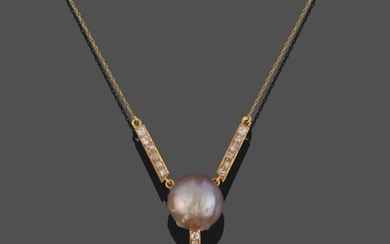 A Pearl and Diamond Pendant Necklace, two diamond set bars...