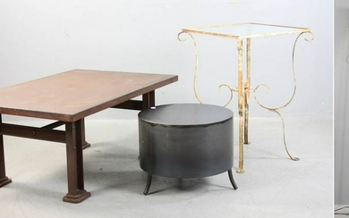 (3) Wrought Iron Tables, Pair of Sconces