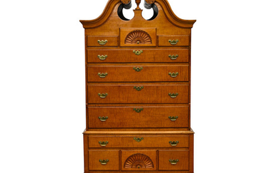 A Queen Anne carved figural maple bonnet top high chest of drawers