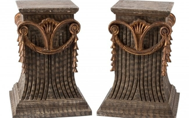 61085: A Pair of Italian Painted Partial Gilt Wood Pede