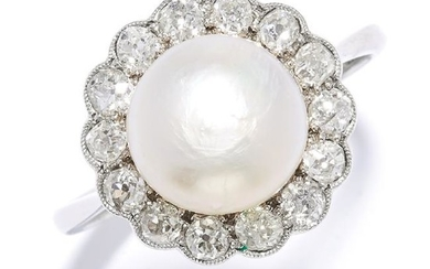 PEARL AND DIAMOND DRESS RING in platinum, set with a