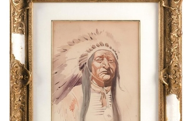 "SCHOOL OF GEORGE CATLIN, American, 19th Century, Portrait of a Native American Chief., Watercolor on paper, 13"" x 10"" sight. Framed..."
