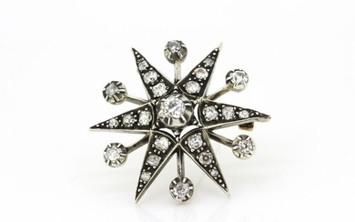 925 silver - topped with 10KYellow gold -Starburst brooch - 1.87 ct - Diamonds