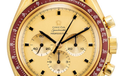 Omega, Ref. 145.022 A very fine and rare limited edition gold chronograph wristwatch with burgundy bezel, Apollo XI engraved case back and bracelet, with original International guarantee, original bill of sales and Crater presentation box