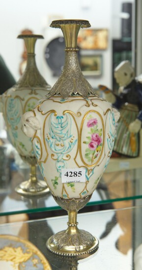 A 19TH CENTURY SILVER GILT MOUNTED HAND PAINTED PARIAN VASE WITH BIRD MOTIFS