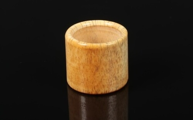 A 19th century Chinese carved bone archers ring, 29mm, 32mm ...