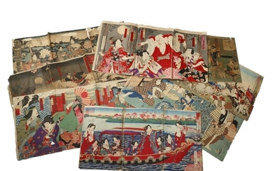 A COLLECTION OF EIGHT JAPANESE WOODBLOCK PRINT TRIPTYCHS MEIJI PERIOD, 19TH CENTURY Comprising: portraits of actors, beauties in gardens and other figures engaged in daily life, by Utagawa Toyokuni III (1786-1864), Chikashige Morikawa (act...