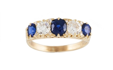 A DIAMOND AND SAPPHIRE FIVE STONE RING, the sapphires weighi...