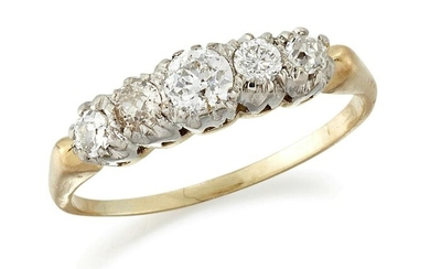 A DIAMOND FIVE STONE RING, graduated old-cut and round