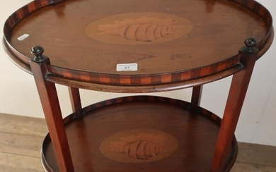 A Edwardian mahogany inlaid oval two tier occasional table (...