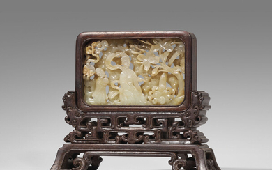 A GREYISH-WHITE OPENWORK JADE-INSET SMALL HONGMU TABLE SCREEN, JADE PLAQUE: SONG DYNASTY (960-1279) STAND: 20TH CENTURY