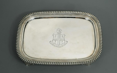 A George III silver dressing table tray,