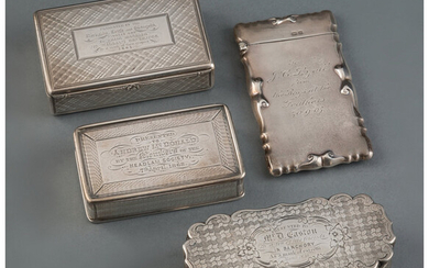A Group of Four British Silver Cases (mid-late 19th century)