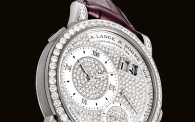 A. LANGE & SÖHNE. A FINE, VERY RARE AND ATTRACTIVE 18K WHITE GOLD AND DIAMOND-SET WRISTWATCH WITH DATE AND POWER RESERVE, SIGNED A. LANGE & SÖHNE, GLASHUTTE I/SA, LANGE 1 MODEL, MOVEMENT NO. 18'836, CASE NO. 133'582, CIRCA 2000