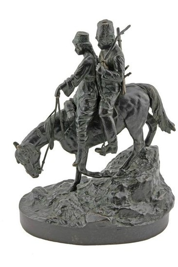 A. M. Bonegor French Bronze of 2 Riders on Horseback