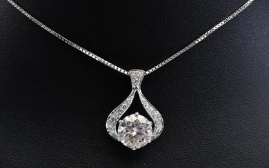 A MOISSANITE AND DIAMOND PENDANT IN 9CT WHITE GOLD TO A BOX CHAIN IN 18CT WHITE GOLD